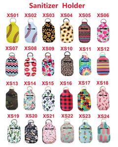 Neoprene Hand Sanitizer Bottle Holder Keychain Bags 30ML 10.3*6cm Key Rings Hand soap Bottle Holder 24 Colors