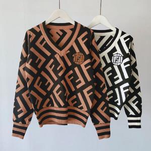 novas mulheres inverno camisola lista Outono camisa de tricô com decote em V manga longa de impressão grossa camisola de moda de roupas mulheres casuais