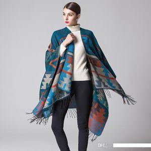 Vintage Indian Style Pashmina Luxury High Quality Imitation Cashmere Scarves & Wraps 2018 Autumn and Winter Geometric Rhombus Shawls JSF019