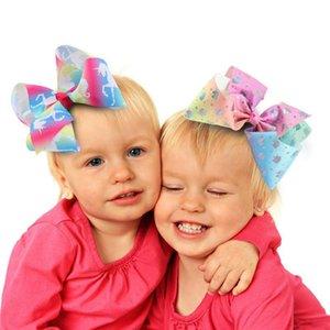 Ragazze Swia Archi Unicorn archi dei capelli con a coccodrillo 12cm grosse arcobaleno Bowknot Barrettes forcine bambini Headwear Accessori per capelli da regalo