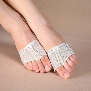 yv Ein Paar Diamant-Schuhe Bauchtanz Paws Fuß Thongs Toe Undies Halb Lyrical Schuhe S / M / L / XL!