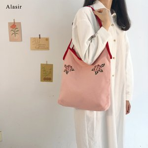 Alasir Canvas Bag Retro French Style Vest Bags Artsy Pink Romantic Rose Women Shoulder Bags Large Casual Tote Handbags