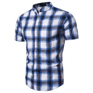 New Arrival Brand Men's plaid shirt Summer Business Shirt Short Sleeves Stand Collar Tuxedo Men Shirts Eur Size 2xl