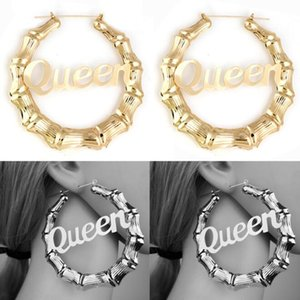 Fashion Statement Word Name Joint Bamboo Hoop Earrings Gold Bamboo Earrings Hoops Personalized Your Fashion Your Styles Multi Styles