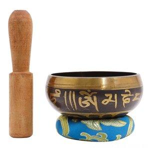 Népalaise bouddhiste tibétain Yoga Chanting Bells Percussion tibétaine Méditation Singing Bowl bouddhiste thérapie par le son bol en cuivre Religion