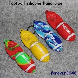 Fußball-Silikon-Tabak-Handpfeife-Pfeifen Dry Herb Unzerbrechliche Silikonpipe Dry Herb-Silikon-Handpfeifen mit Glasschüssel + Schlüsselbund