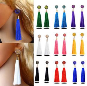 18 colores Boho Crystal Long Tassel Drop Earrings Ethnic Geometric Rose flower Sign Cuelga el pendiente de la declaración para las mujeres Joyería de moda