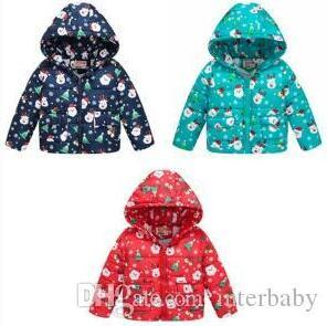 Baby Winter Cotton Jacket Christmas Kids Down Coats Boys Hooded Outerwear Tops Xmas Cartoon Print Hoodies Outwear Baby Clothing BYP6269