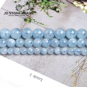 4 6 8 10 12 mm Natural Aquamarine loose Beads Free Shipping Faceted Blue Pick Szie DIY Accessory Gemstone For Jewelry Making LY191203