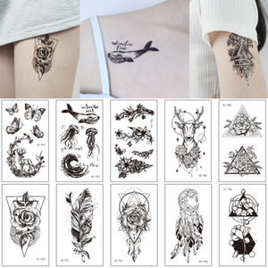 Temporary Body Tattoo Arm Back Leg DIY Sticker Rose Flower Dreamcatcher Jewelry Necklace Chest Sternum Art Design Woman Tiny Black Tattoo 3D