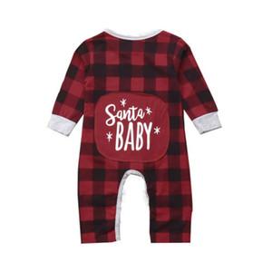 2018 di Natale il bambino dei vestiti della ragazza plaid una collega i costumi ragazza infantile Corredo bambino delle tute Pigiama 0-24M abbigliamento