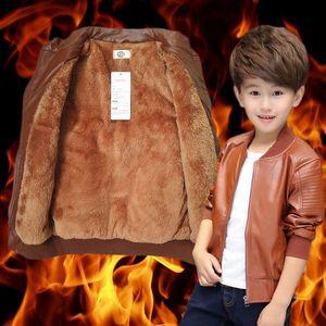 Più velluto ragazzo Manteaux Autunno Inverno per bambini coreano Moda Warming Leather Jacket Cotone PU per 6-15Y Bambini