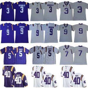 NCAA LSU Tigers 3 Odell Beckham Jr. 7 Leonard Fournette 5 Derrius Guice 9 Joe Burrow 40 Devin Bianco 125 ° Stagione College Football Jersey