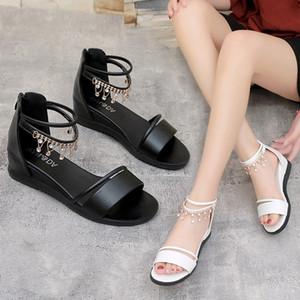 Lucky2019 Sandali con strass Studente Punta piatta Bottom Bohemia Seconda scarpa donna Roma