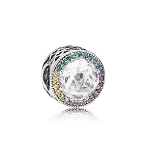 925 encantos de plata esterlina del logotipo original de la caja de los granos de Pandora color Crytal brazalete de diamantes Beads Europea para la fabricación de joyas