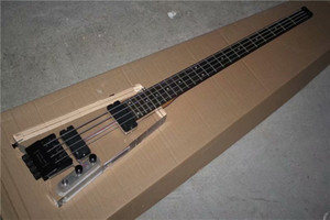 4 Strings Headless Plexiglas Acryl Body Electric Bass-Gitarre mit schwarzer Hardware, Palisander Griffbrett, kann individuell angepasst werden