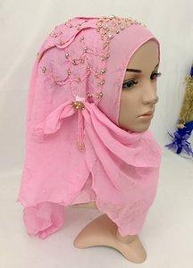 Nouvelle main de perles écharpe Hijab secret musulman pratique Hijab Scarf Instantané