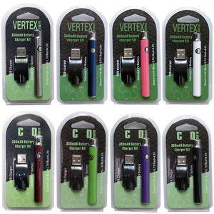 El precalentamiento caliente Vertex Vape pluma de la batería 350mAh Voltaje de precalentamiento variable 510 Rosca batería para cigarrillos e Vape Cartuchos Baterías