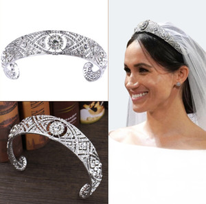 2020 Noble Meghan Markle Style Headband Wedding Tiara Crowns Luxurious Crystals Diamonds Headpieces Bridal Jewelry Hair Accessories AL6047