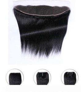 A Lace frontal Hetero Encerramento 13x2 não processado Virgin brasileiro do cabelo humano extensões Top Lace Closue com o bebê cabelo descolorido Knots