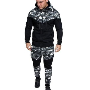 Panelled Camouflage Mens Designer Tracksuits Fashion Zipper Hooded Long Sleeve Long Pants Mens 2PCS Sets Casual Males Clothing