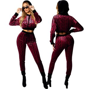 Fashion-Women Designer Sexy Slim Suits 2019 Luxury Two Piece Pants for Womens Explosio Brand Ladies Fashion Sexy Hoodie + Pants