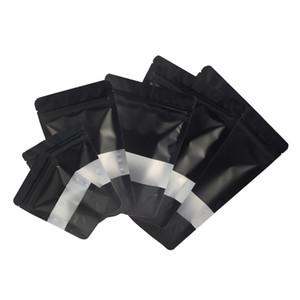 Assorted Tamanho Matte Black Com Limpar retângulo janela da frente de prata no interior Preto Voltar Foil Mylar Stand Up zip lock sacos com Notch rasgo