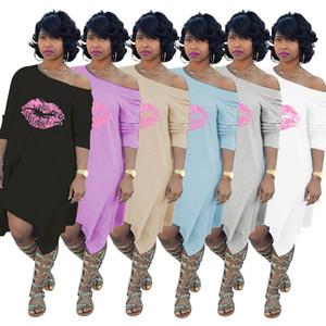 Art- und Weiselippe druckte weg von der Schulter-Frauen-Kleid-asymetrischen langen Hülsen-Dame Knie-Length Tshirt Spring Summer Autumn WY6470