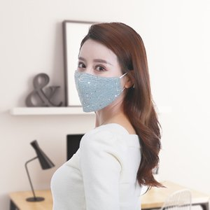 Sequin Luxury Designer Face Mask Adult Reusable Washable Cotton Cloth Dust Masks Summer Ice Silk Breathable mascherine Adjustable Earloop