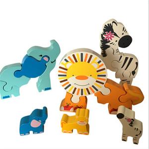 Animal dos desenhos animados De Madeira Puzzle 3D Brinquedos Para Crianças Elefante Zebra Leão Jigsaw Puzzle Jogos de Aprendizagem Educação Brinquedos Populares