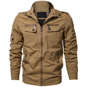남성 재킷 가을 겨울 빈티지 지퍼 솔리드 스탠드 칼라 긴 소매 전술 밀리 재킷 코트 스트리트 남성 옷
