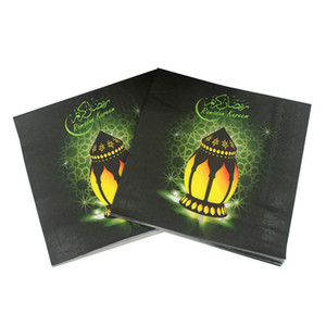 Ramazan Peçete Kağıt Arap Lamba Baskı Kağıt Peçeteler Yüz Doku Için İslam Ay Müslüman Bayram al-Fitr 33 * 33 cm 20 adet Paketi VT1409