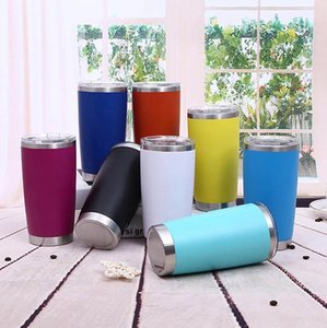 20oz Stainless Steel Mug 13 Colors Double Wall Travel Mugs Insulated Water Bottle Beer Tumbler with Lid Coffee Mugs Sea Shipping 100 OOA8089
