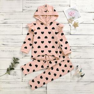 Kızlar Aşk Kalp Baskılı Kıyafetler Çocuklar Stereo Hayvan Kapüşonlu Falbala Kollu Kazak + Pantolon 2 adet Setleri Sevgililer Günü Çocuk Giyim J2307