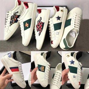 Trendy Designer Luxo Homens Mulheres Sapatos Sapatilhas Atraente ACE Bordado Abelha Cabeça do tigre Dog Serpente calçados casuais Sports Plano Unisex Formadores