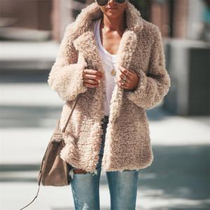 Designer Patchwork Inverno Cordeiro Coats Turn Down Collar grosso casaco quente Brasão Womens Abrir ponto Casacos