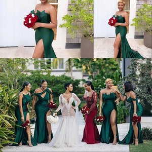 Hunter Green Diferente escote Sexy Sin mangas Satén Vestidos de noche Frote High Side Split Dress Largo Prom Vestido Sweep Strain Robe de Soiree