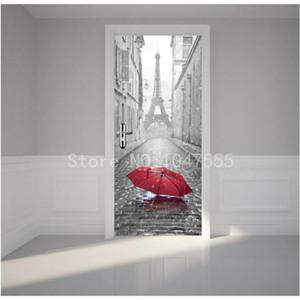 Retro Torre Eiffel DIY 3D pintura de pared del fondo del papel pintado murales de la sala puerta del dormitorio papel pintado murales de PVC Sticker