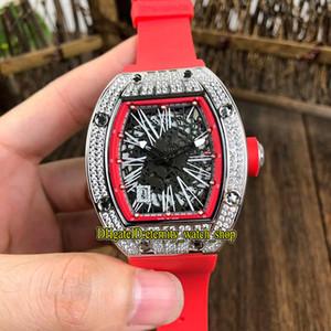 14 Estilo R Mejor versión RM 010 Esqueleto Diamantes Fecha de marcación Caso Japón relojes de lujo Miyota automático RM010 reloj para hombre de la correa de goma del deporte