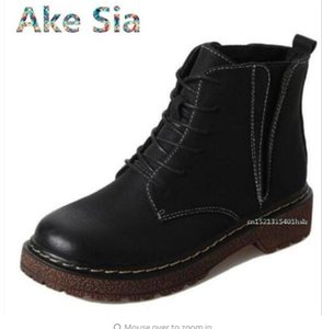Ake Sia 2017 autumn new retro style  boots street shoot Hong Kong style British wind band flat single boots #6668