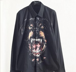 Luxury Mens Designer Shirts Autumn Male Dog Head Printing Shirt Youth Square Collar Long Sleeves Shirts Black Size M-2XL