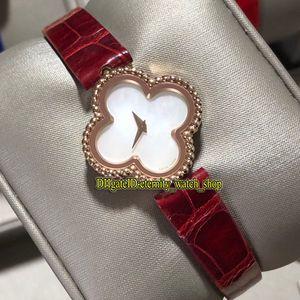 VAF Oro rosa 18 carati Four Leaf Clover Caso dolce Alhambra Serie VCARO8SF00 quadrante in madreperla quarzo svizzero Ladies Watch Orologi della signora di moda