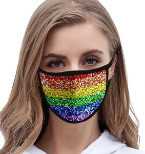 LGBT gay 3D maschera Stampa faccia maschere poliestere riutilizzabili Maschere Out Door Sport equitazione Moda Arcobaleno riutilizzabile maschere bocca LJJK2339