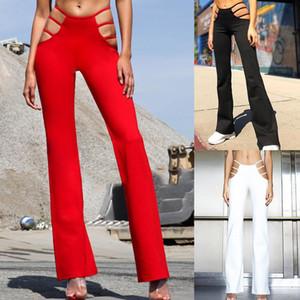 Trous Sexy Out Cut Womens Pants Slim Fit Sweat Skinny Pantalon solide pour les femmes Flare évider mince taille basse vin Pantalons Red Hot