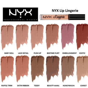 Brand NYX lingerie liquid matte Lipstick waterproof nude lip gloss makeup cosmetics party gift 12 colors dropshipping In Stock