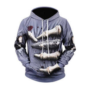 calle suéter jóvenes modelos de explosión de los hombres de Europa y tendencia de la personalidad de la bandera americana de graffiti impresión 3D suéter encapuchado # 04
