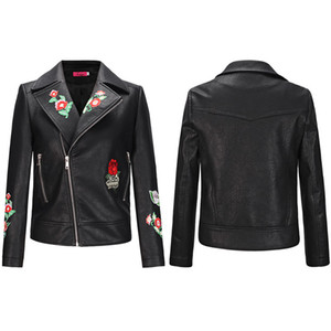 Veste en cuir souple PU Casual Coat Zipper Flora brodé mode printemps et automne Motard Vestes Slim Fit
