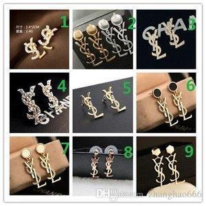 OBEN! Großhandelspreis! 14K Klassische Designer-Perlen-Diamant-Ohrringe Ohrstecker Gold Silber Dangler Schmuck Accessoires Partei-Geschenk B102