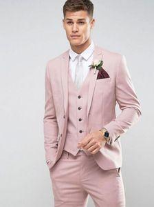 3pcs Costume Blazer Tailor Made Light Pink Men Suit Slim Fit partito di promenade Sposo Matrimonio Homme Maschio smoking (Jacket + Pants + vest)