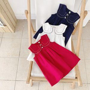 Ins New Summer Girls Ropa de vestir Sin mangas Cuello alto con bordado Flor Vestido de color sólido Vestido de ropa de niña de verano